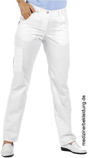 b59d4ed94d 210 g/m², 95° waschbar, Industriewäsche geeignet, Leiber Hose Damen,  Schrittlänge ca. 80 cm, weiß, 2 Vordertaschen mit zusätzlicher,  geschwungener Steppnaht ...