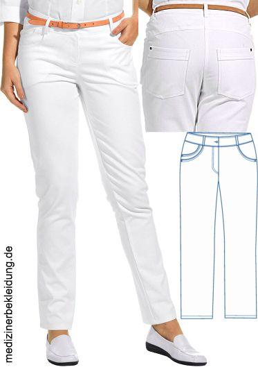 2efb4f28fb4b Damenhose weiß Jeansform 97% Baumwolle, 3% Elastolefin. Ca. 270 g m², 95°  waschbar, Classic-Style, Leiber Hose Damen mit normaler Hüftweite, ...