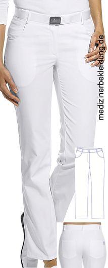 7e624cb66e25 Damen Arbeitshose weiß Dehnzone 65% Polyester, 35% Baumwolle. Ca. 210 g m²,  95° waschbar, 2 Seitentaschen, 2 Gesäßtaschen, Leiber Damenhose mit Bund  mit ...