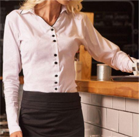 70718691cd96 Bluse weiß schwarz langarm 49% Polyester, 49% Baumwolle, 2%  Elastomultiester. Ca. 125 g m², 60° waschbar, Basic Fit, Ärmel mit Schlitz  und breiter ...