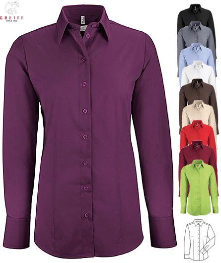 cdd01f335599 Damen Bluse langarm Basic 62% Baumwolle, 35% Polyester, 3% Elasthan. Ca.  130 g m², 60° waschbar, easy-care, Regular Fit, Stretch, Greiff Bluse mit  ...