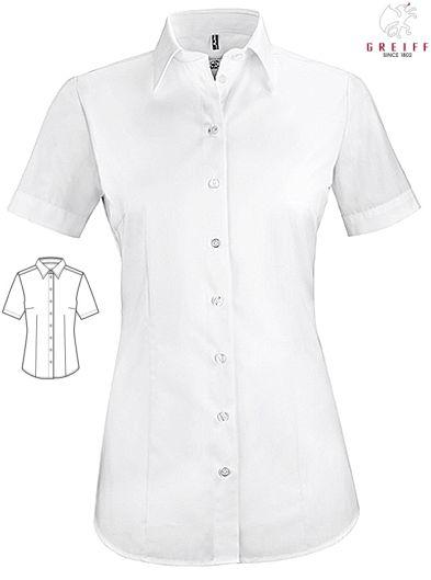 d66877d39c57 Damen Bluse weiß kurzarm 62% Baumwolle, 35% Polyester, 3% Elasthan. Ca. 130  g m², 60° waschbar, easy-care, Stretch, Basic, Regular Fit, Bluse weiß  Greiff ...