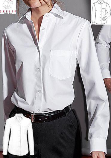 2ae6390588c8 ... Damen Bluse langarm weiß BASIC 62% Baumwolle, 35% Polyester, 3%  Elasthan. Ca. 130 g m², 60° waschbar, Greiff Bluse Comfort fit,  New-Kent-Kragen, ...